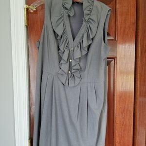 Gray pleated lined dress with ruffled collar